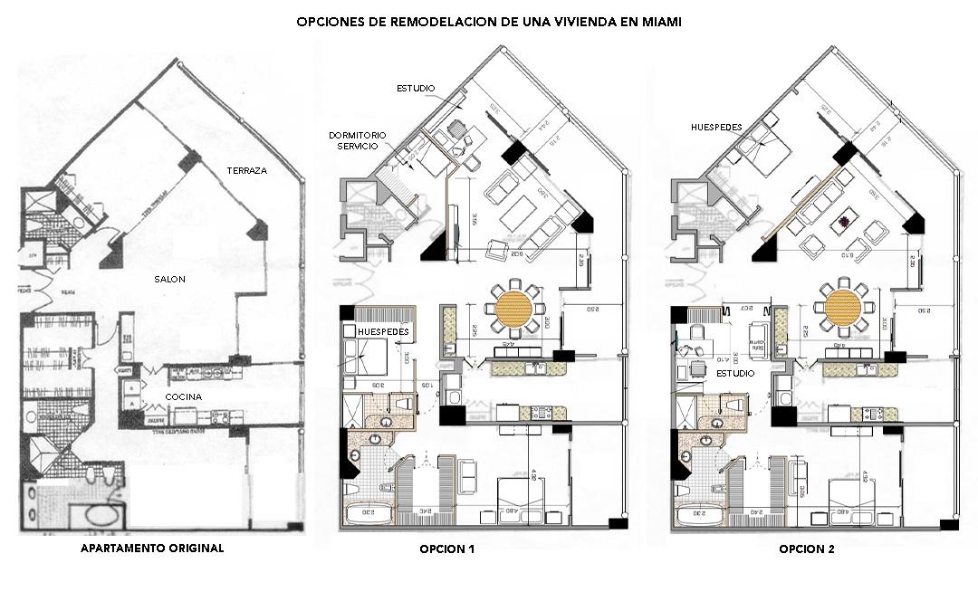 Quiero opciones de remodelación de un apartamento en Miami antes de comprarlo. Necesito 2 habitaciones, un estudio y de ser posible, una tercera habitación para una empleada.